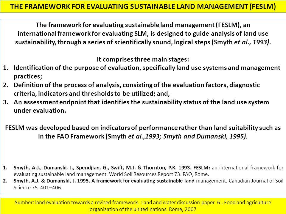 THE FRAMEWORK FOR EVALUATING SUSTAINABLE LAND MANAGEMENT (FESLM)
