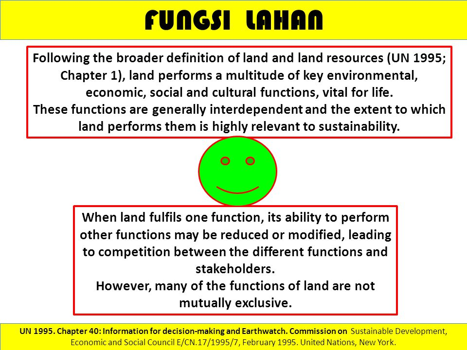 However, many of the functions of land are not mutually exclusive.