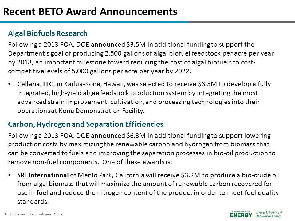 Recent BETO Award Announcements