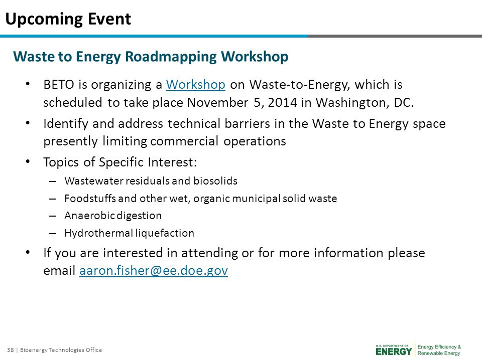 Upcoming Event Waste to Energy Roadmapping Workshop
