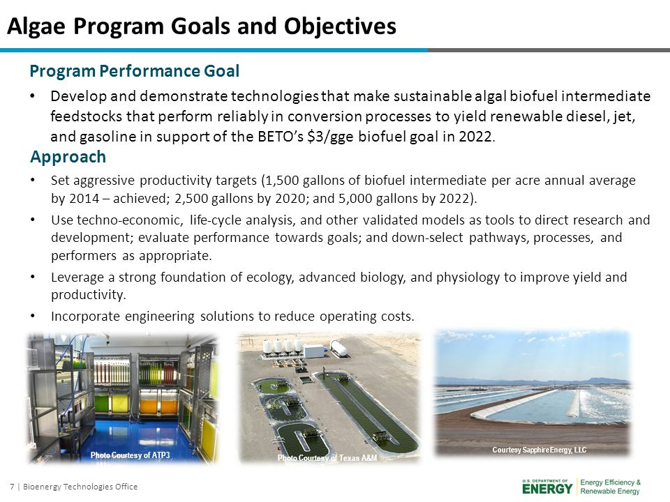 Algae Program Goals and Objectives