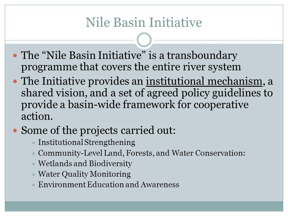 Nile Basin Initiative The Nile Basin Initiative is a transboundary programme that covers the entire river system.