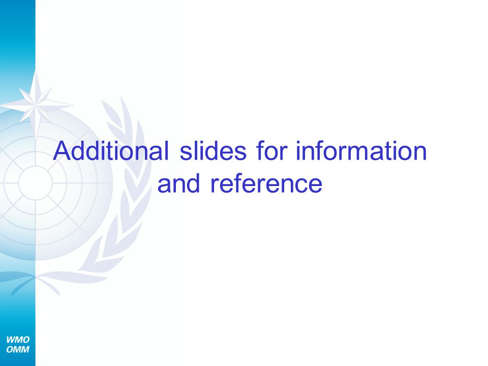 Additional slides for information and reference