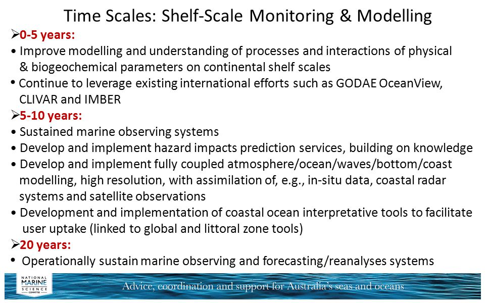 Time Scales: Shelf-Scale Monitoring & Modelling