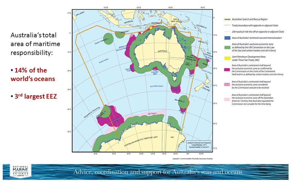 Australia's total area of maritime responsibility: 14% of the