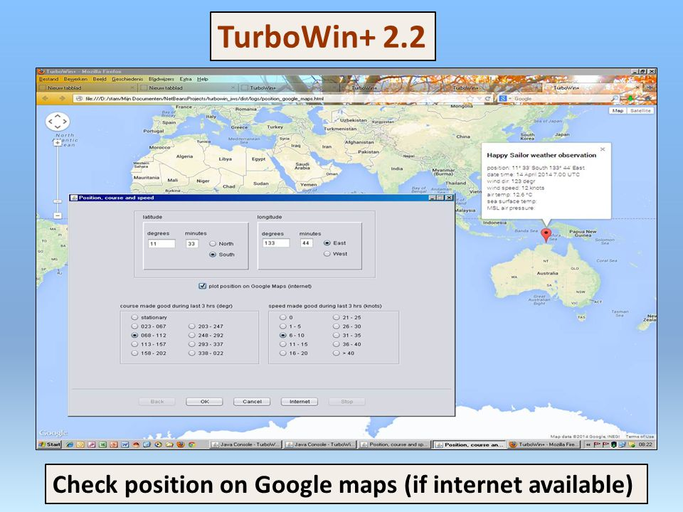 TurboWin+ 2.2 Check position on Google maps (if internet available)