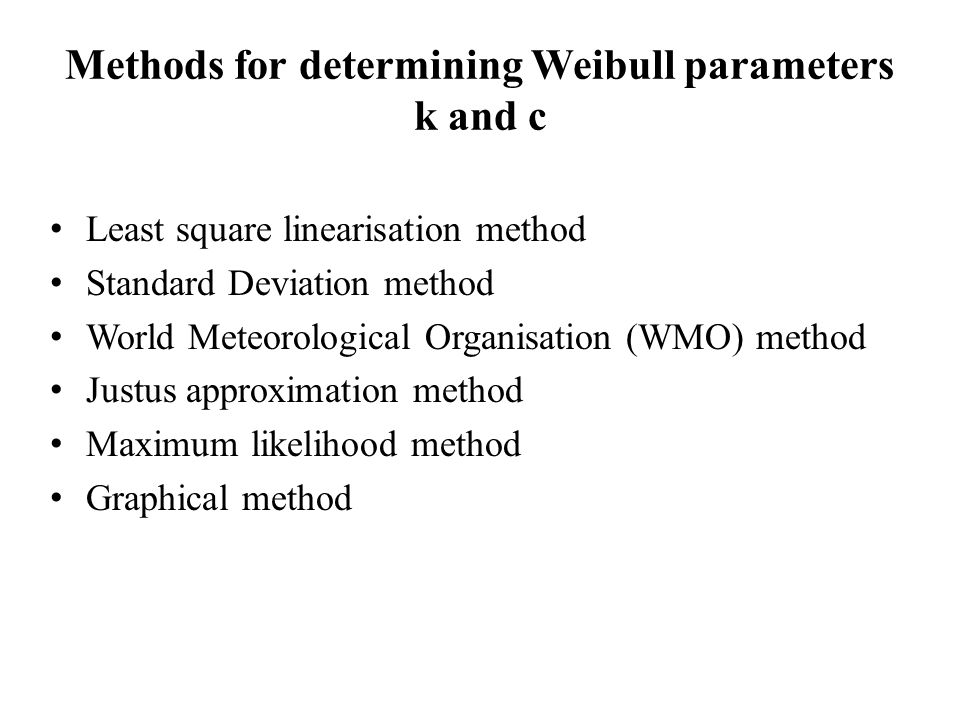 Methods for determining Weibull parameters k and c