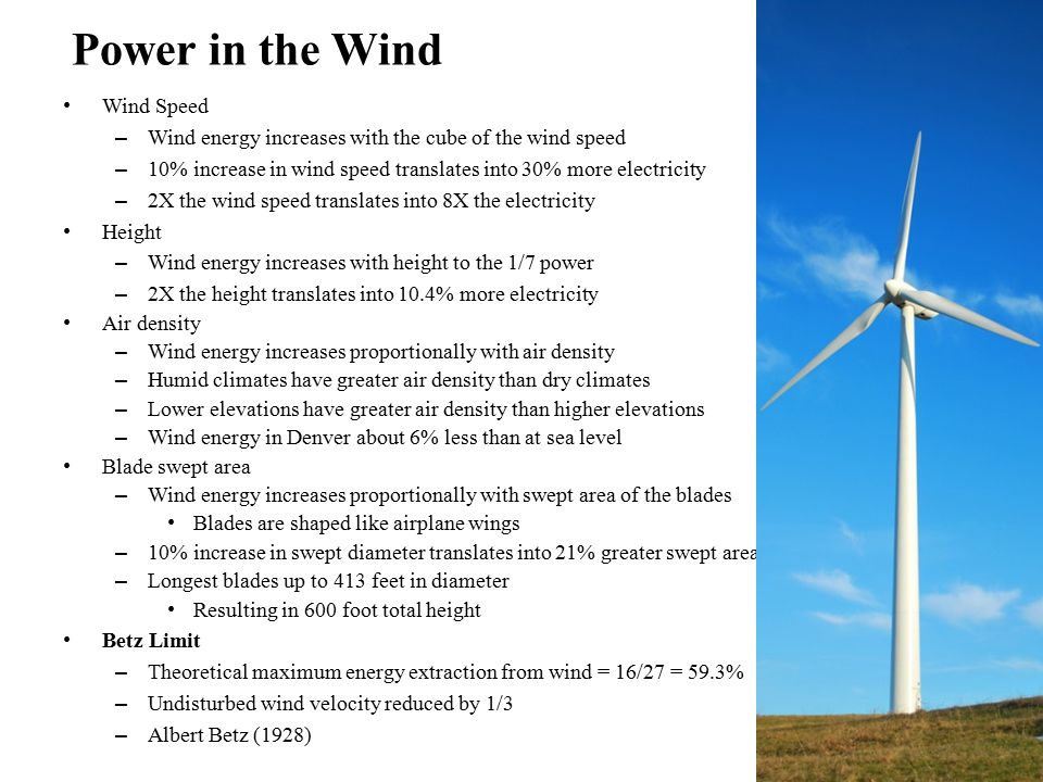 Power in the Wind Wind Speed