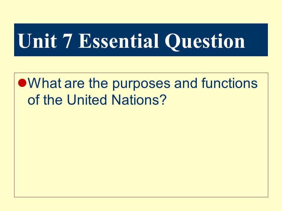 Unit 7 Essential Question