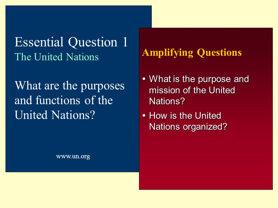 Chapter 7 11/3/2000. Essential Question 1 The United Nations What are the purposes and functions of the United Nations
