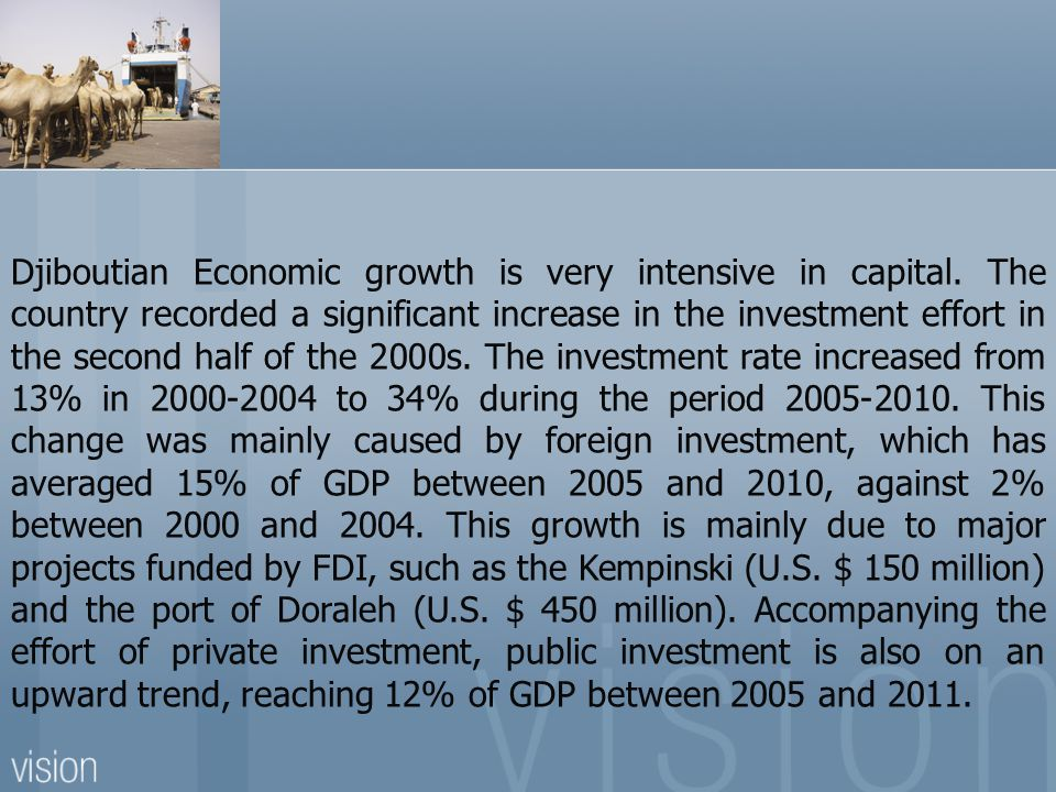 Djiboutian Economic growth is very intensive in capital