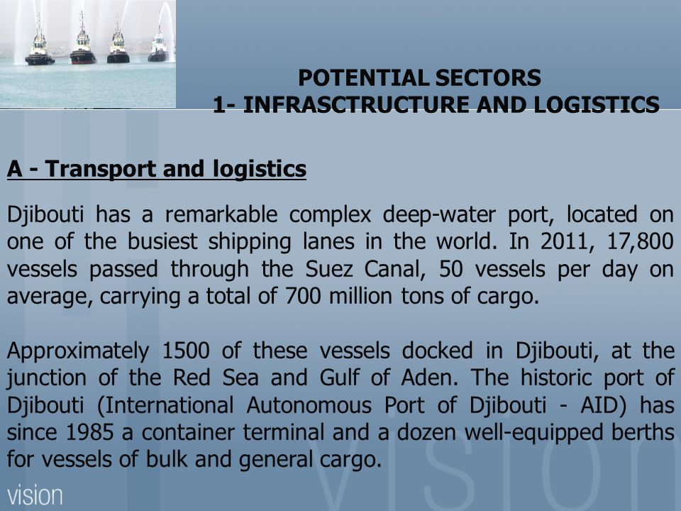 POTENTIAL SECTORS 1- INFRASCTRUCTURE AND LOGISTICS. A - Transport and logistics.