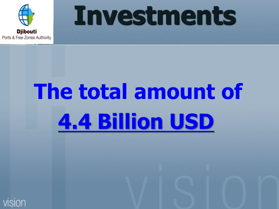 Investments The total amount of 4.4 Billion USD