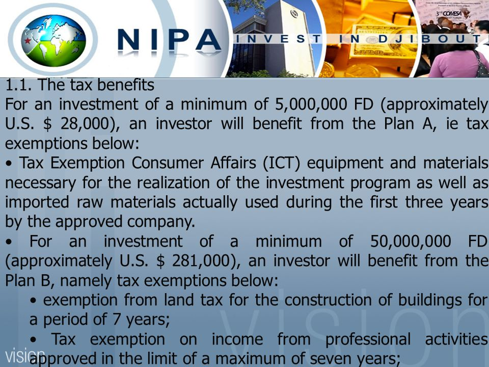 1.1. The tax benefits