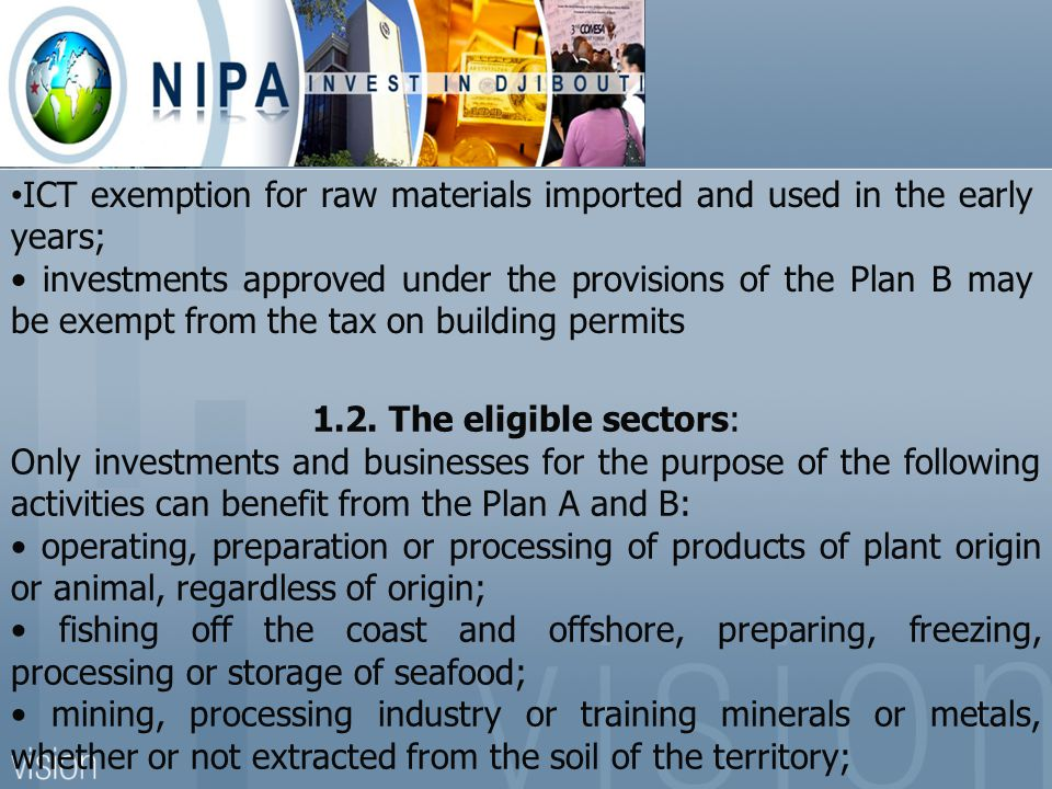 ICT exemption for raw materials imported and used in the early years;