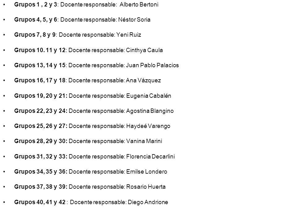 Grupos 1 , 2 y 3: Docente responsable: Alberto Bertoni