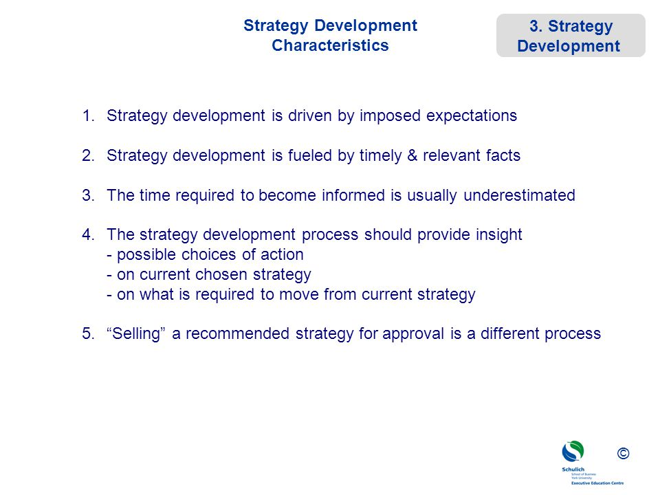 Strategy Development Characteristics