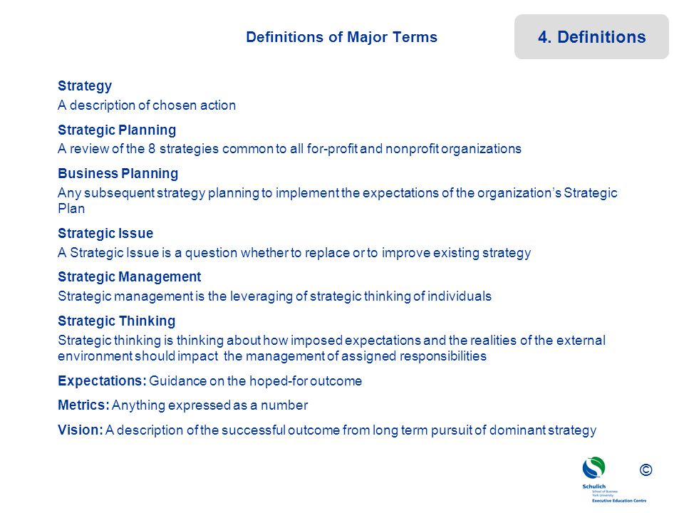 Definitions of Major Terms