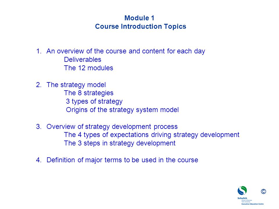 Module 1 Course Introduction Topics