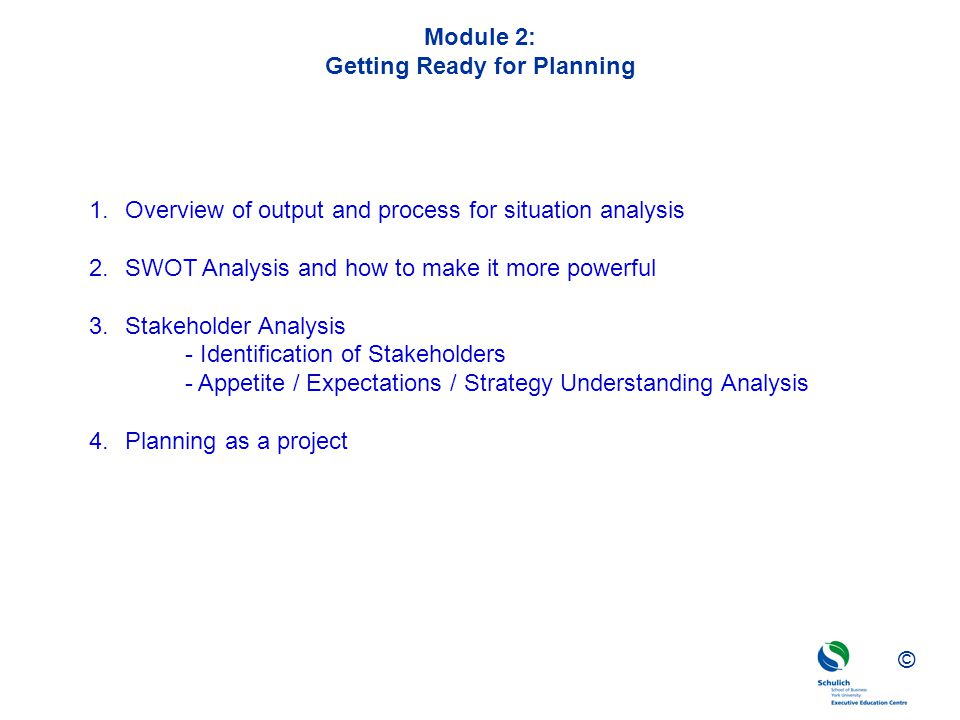 Module 2: Getting Ready for Planning