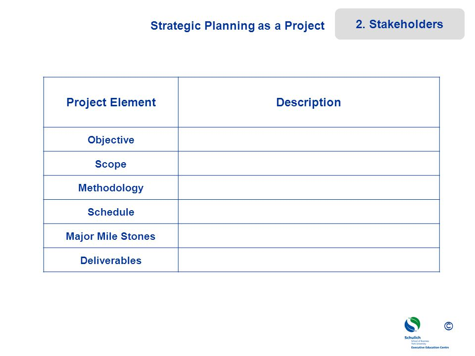 Strategic Planning as a Project