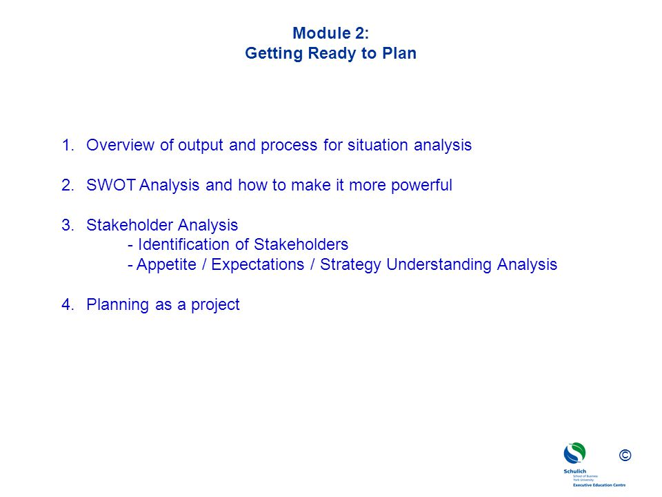 Module 2: Getting Ready to Plan