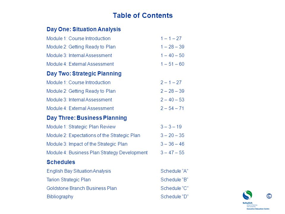 Table of Contents Day One: Situation Analysis