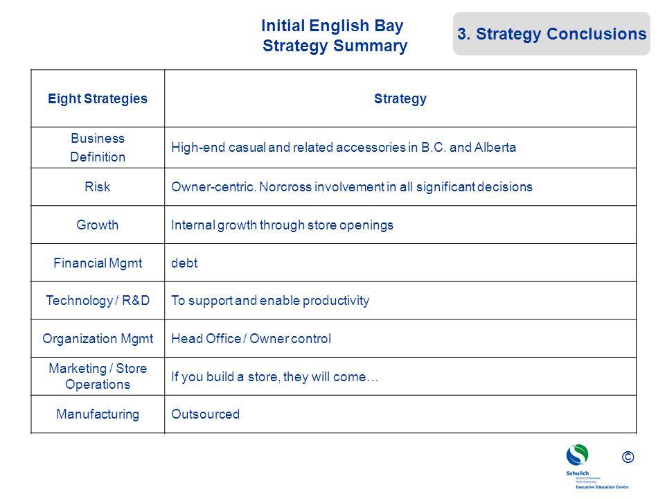 Initial English Bay Strategy Summary