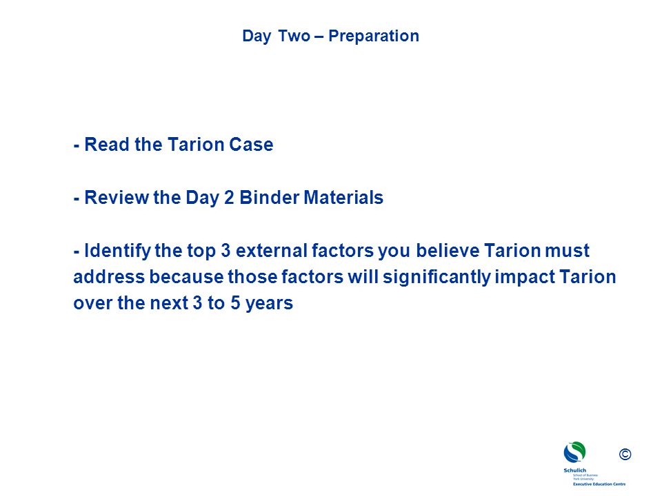 - Review the Day 2 Binder Materials
