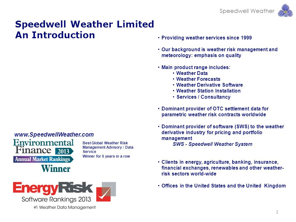 Speedwell Weather Limited An Introduction