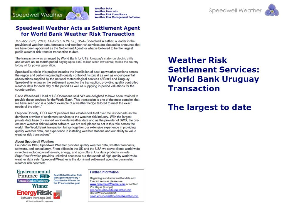 Weather Risk Settlement Services: