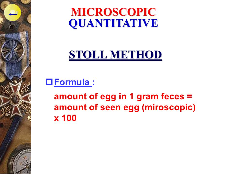 MICROSCOPIC QUANTITATIVE STOLL METHOD