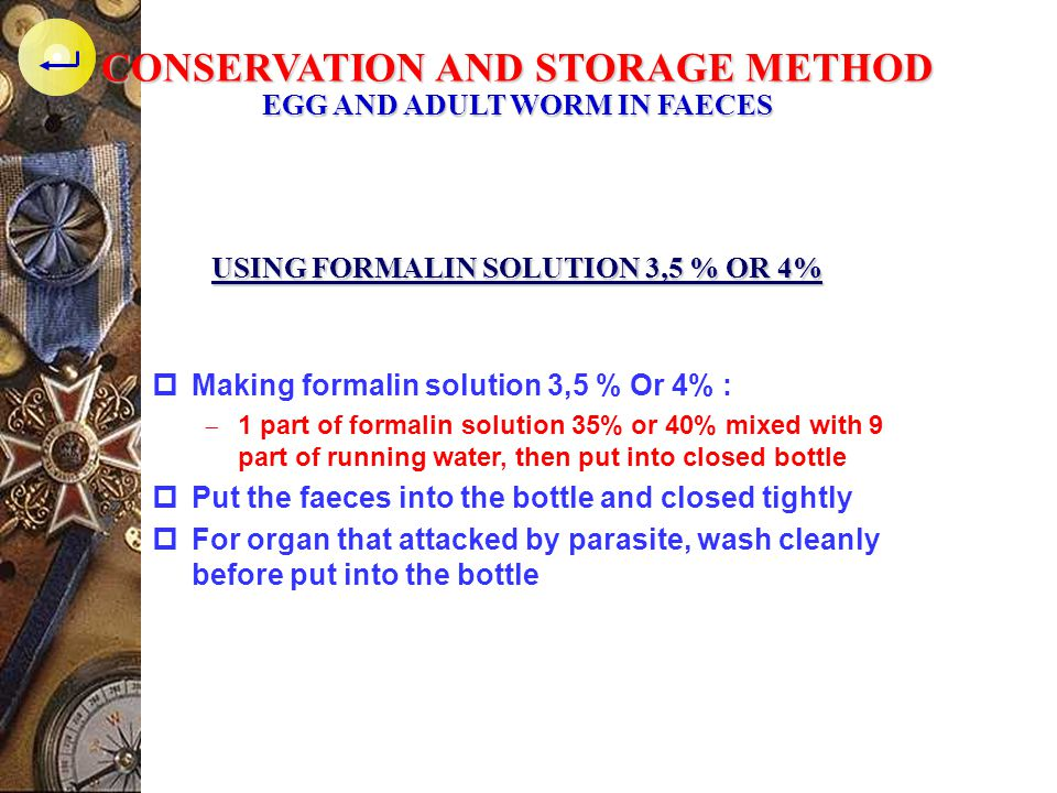 CONSERVATION AND STORAGE METHOD