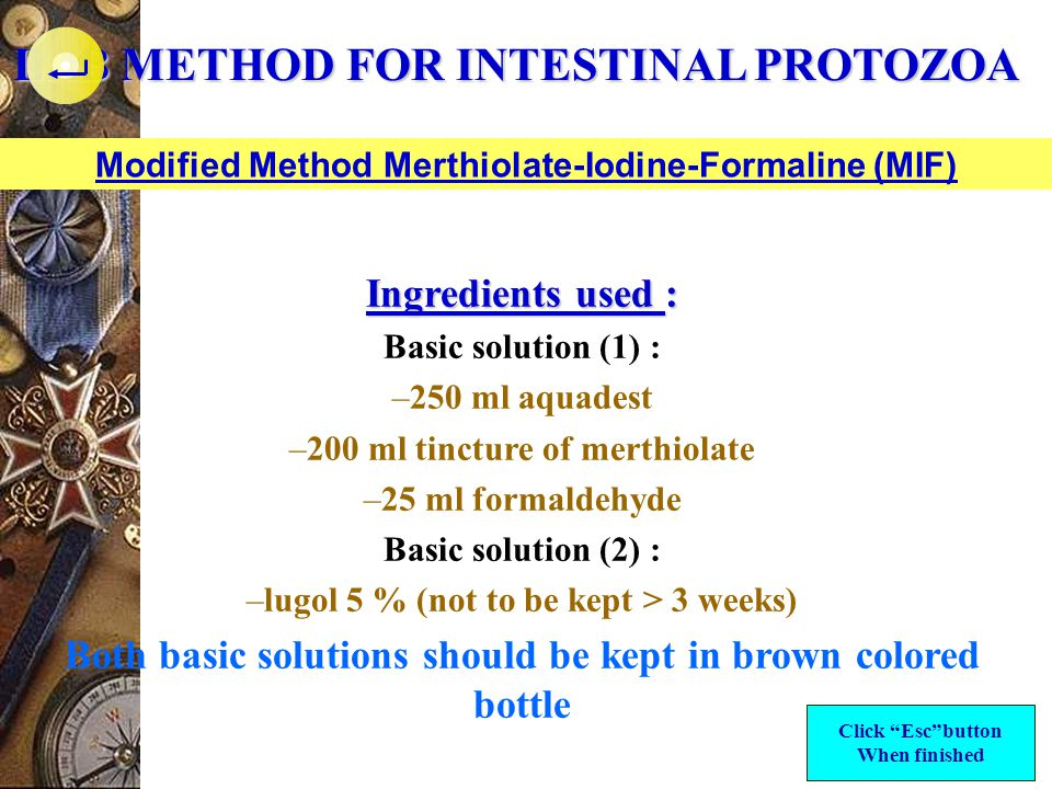 LAB METHOD FOR INTESTINAL PROTOZOA