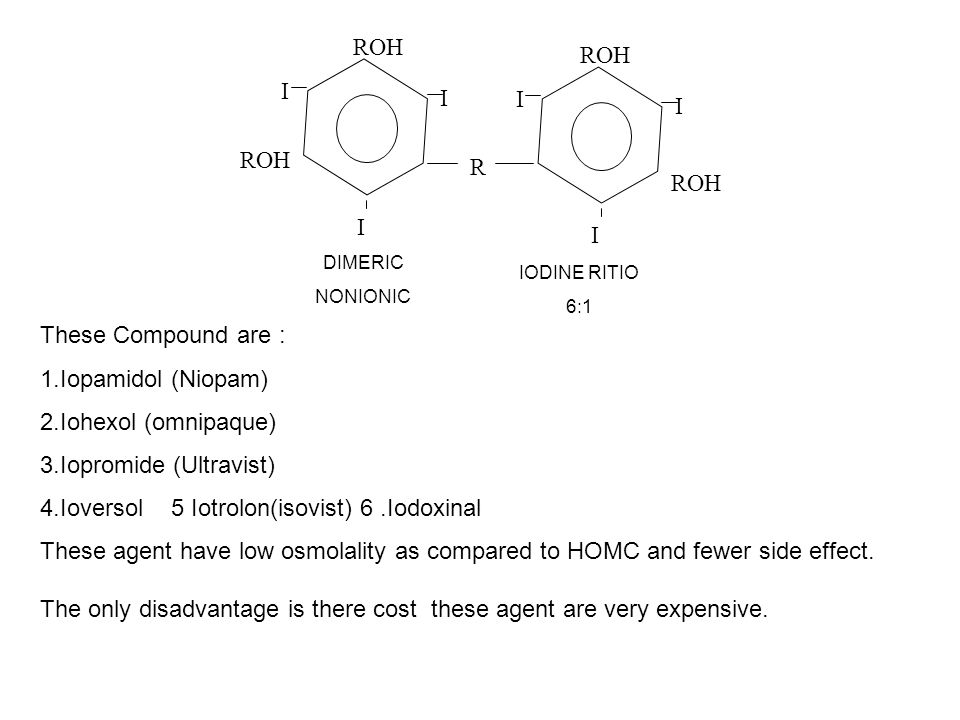 3.Iopromide (Ultravist) 4.Ioversol 5 Iotrolon(isovist) 6 .Iodoxinal
