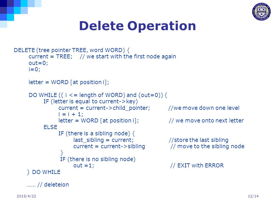 Delete Operation DELETE (tree pointer TREE, word WORD) {
