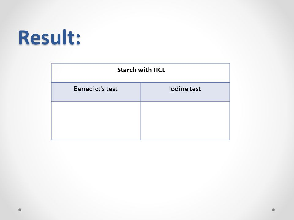Result: Starch with HCL Iodine test Benedict s test