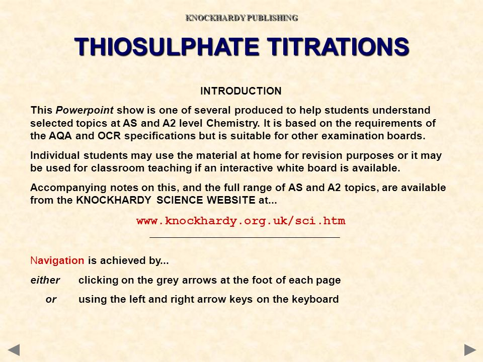 KNOCKHARDY PUBLISHING THIOSULPHATE TITRATIONS