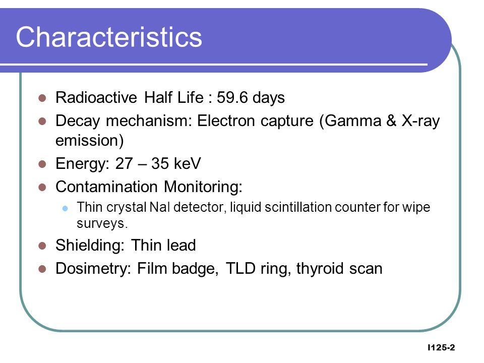 Characteristics Radioactive Half Life : 59.6 days