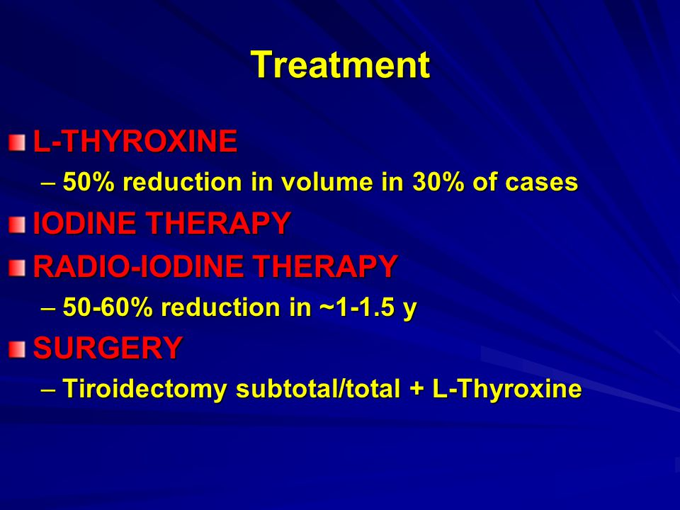 Treatment L-THYROXINE IODINE THERAPY RADIO-IODINE THERAPY SURGERY