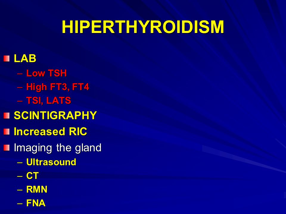 HIPERTHYROIDISM LAB SCINTIGRAPHY Increased RIC Imaging the gland