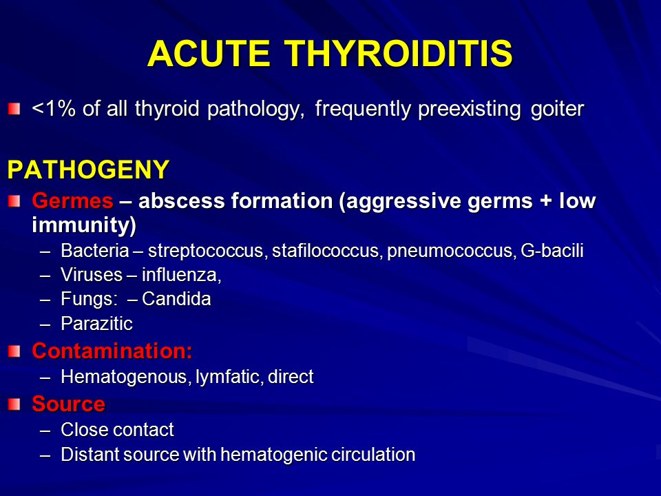 ACUTE THYROIDITIS PATHOGENY