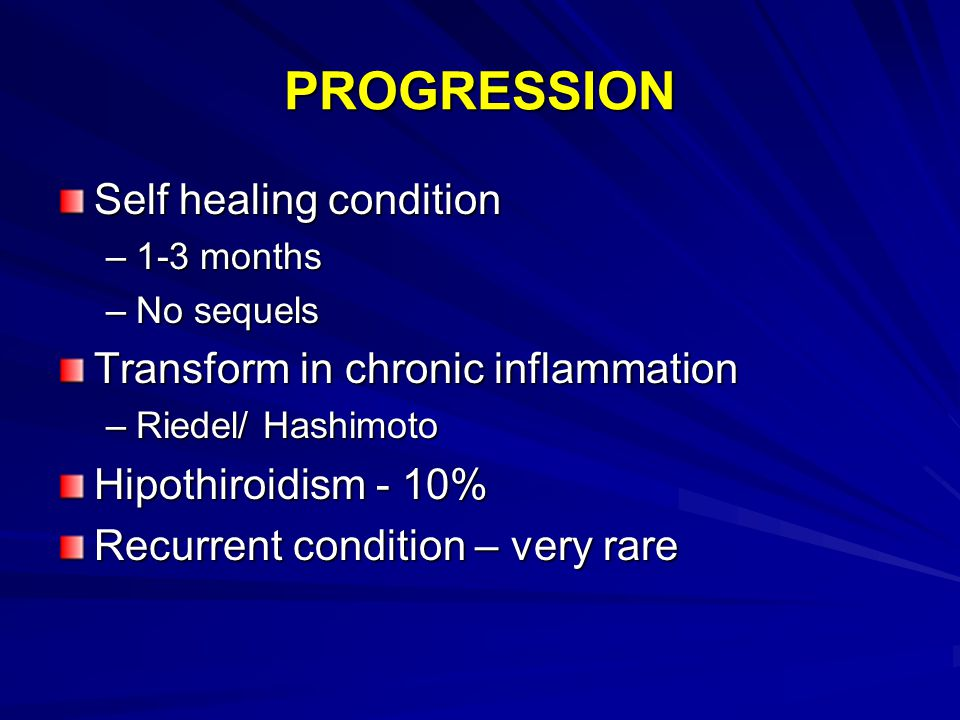 PROGRESSION Self healing condition Transform in chronic inflammation