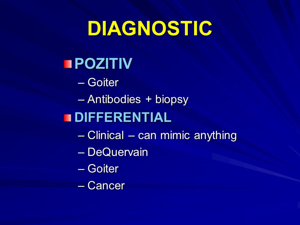 DIAGNOSTIC POZITIV DIFFERENTIAL Goiter Antibodies + biopsy