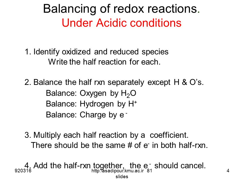 Balancing of redox reactions. Under Acidic conditions