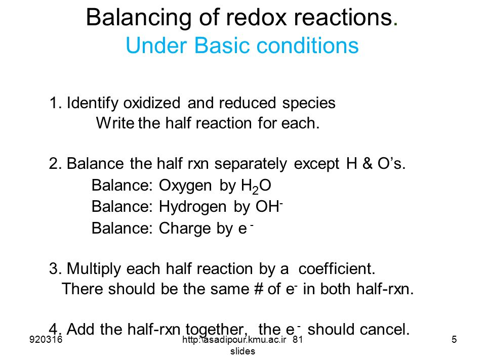 Balancing of redox reactions. Under Basic conditions