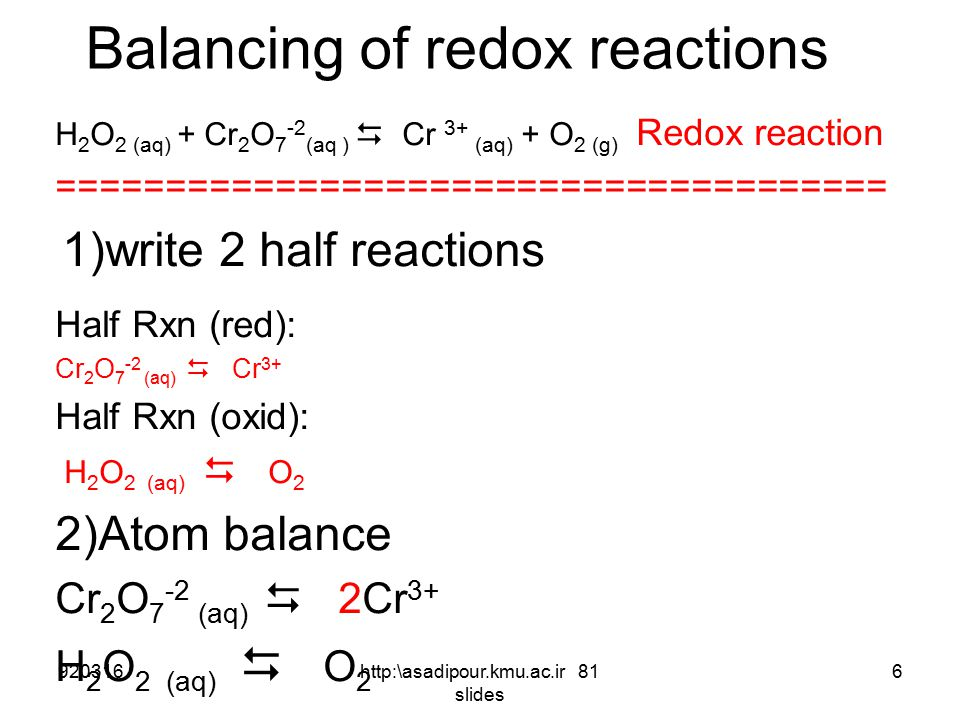 Balancing of redox reactions