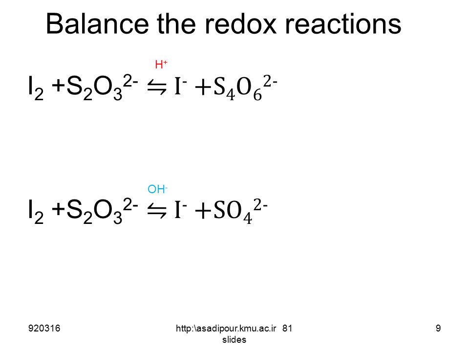 Balance the redox reactions