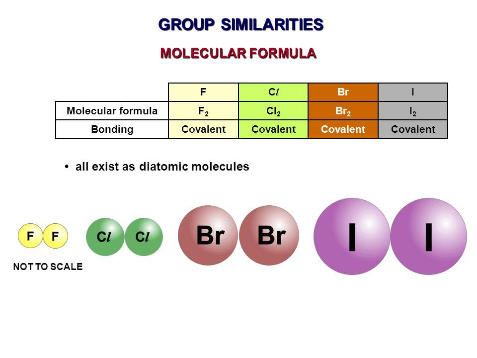 GROUP SIMILARITIES MOLECULAR FORMULA • all exist as diatomic molecules