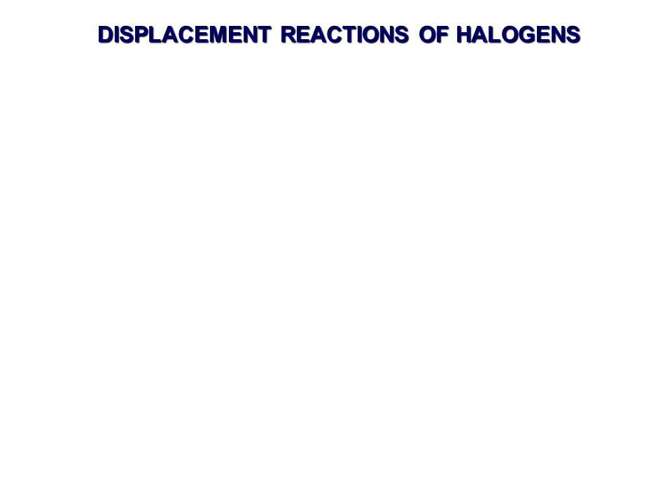 DISPLACEMENT REACTIONS OF HALOGENS